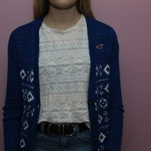 Hollister XS Blue and White Patterned Cardigan